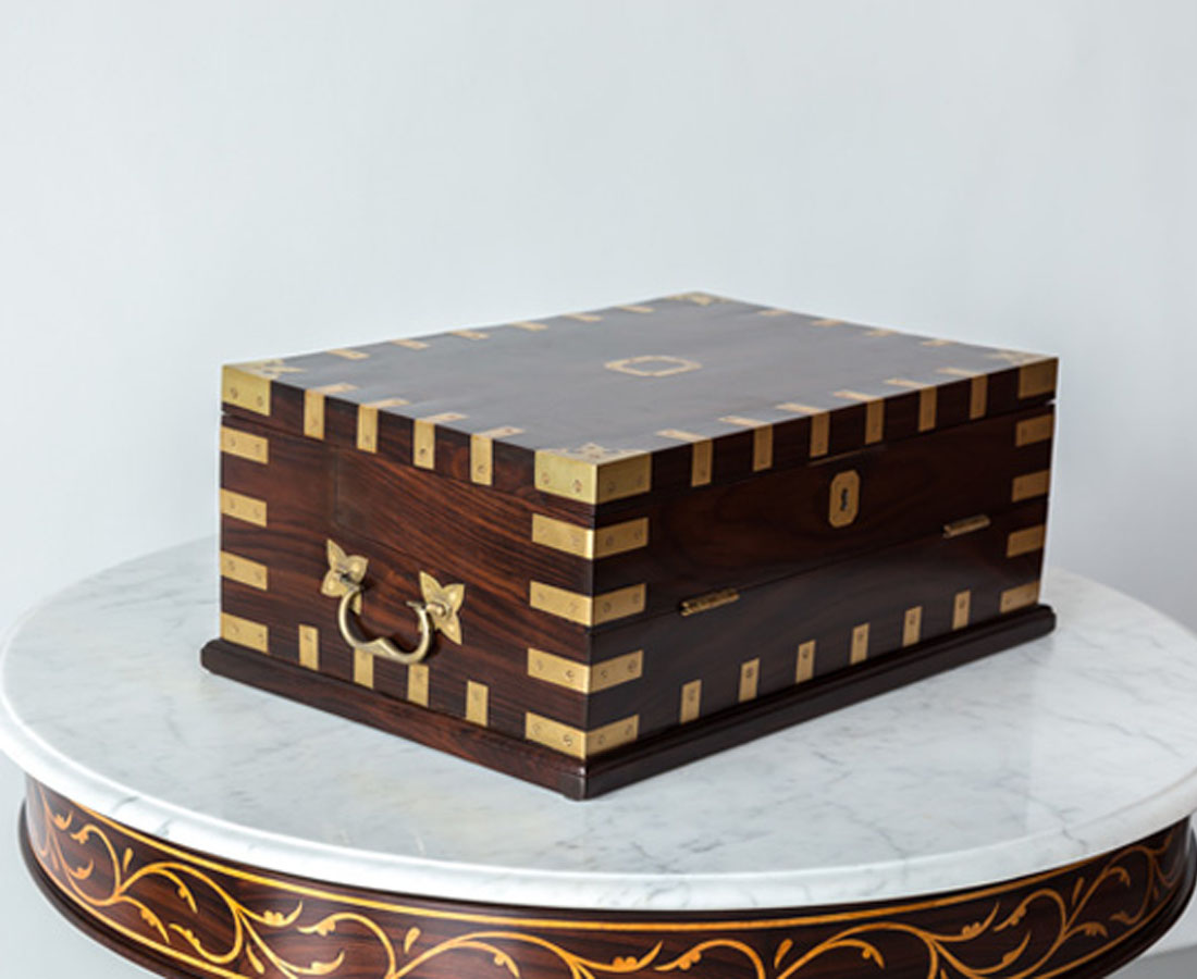 BOX-268 2L British colonial rosewood writing box l The Past Perfect Collection l Singapore