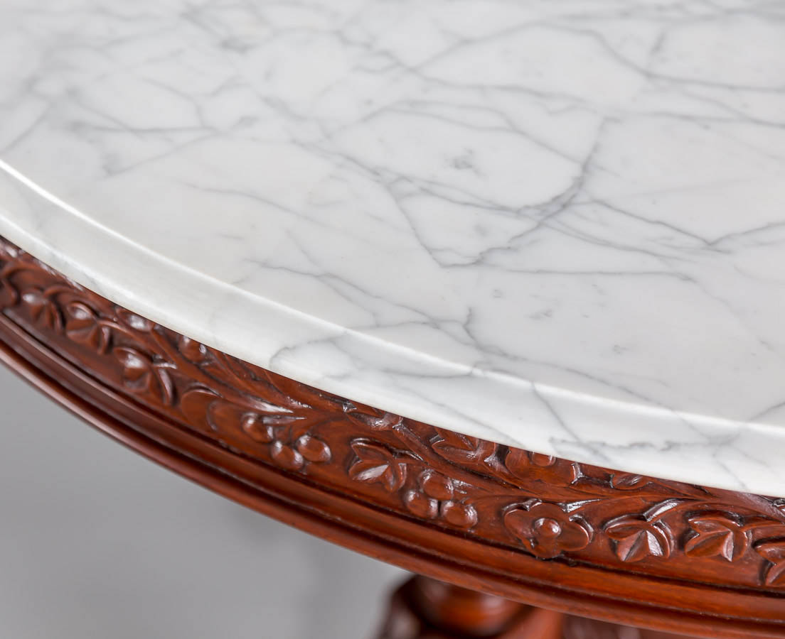 TAB-387 2L Antique Portuguese colonial mahogany marble top table l The Past Perfect Collection l Singapore