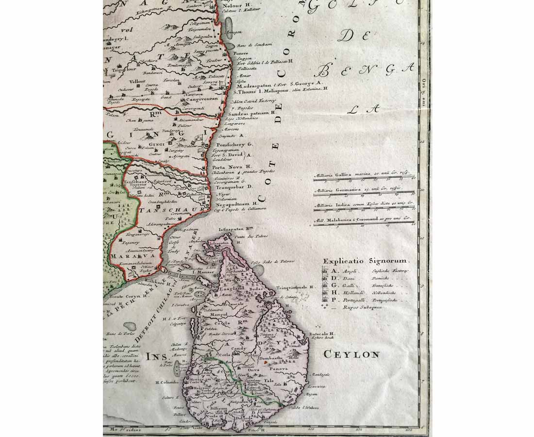 MAP-099 3L Antique Map India & Ceylon Homann Heirs l The Past Perfect Collection l Singapore