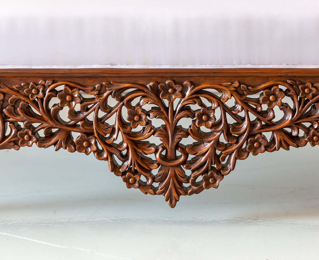 BSS-081 7L Anglo-Indian Walnut Carved Sofa l The Past Perfect Collection l Singapore