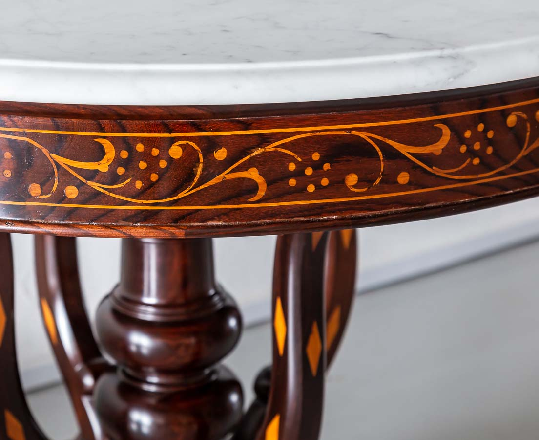 TAB-434 4L Indo-Portuguese Rosewood Marble Top Table l The Past Perfect Collection l Singapore