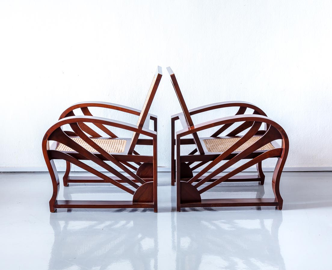 Pair of Walnut Art Deco Chairs l The Past Perfect Collection l Singapore