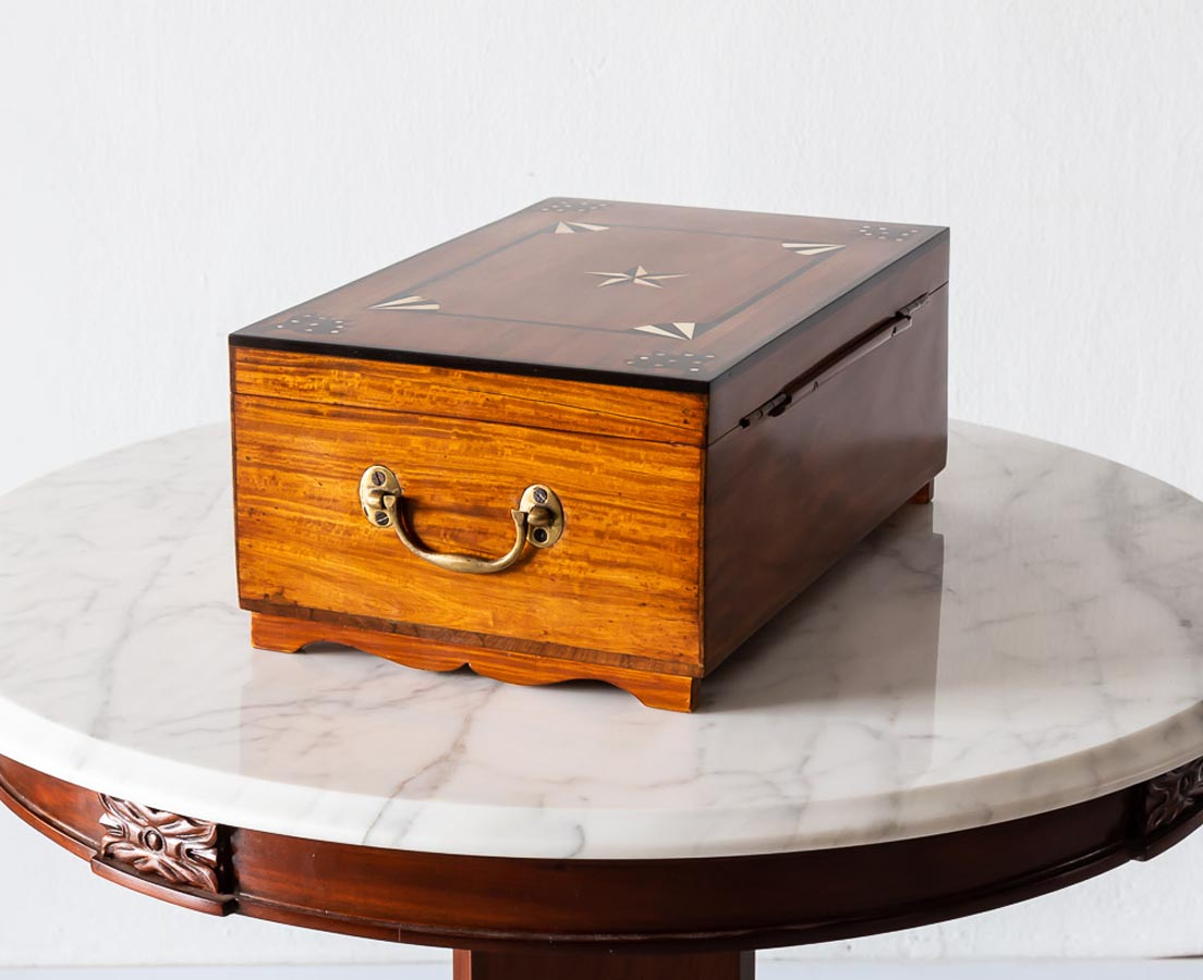 Ebony inlaid Satinwood Box l The Past Perfect Collection l Singapore