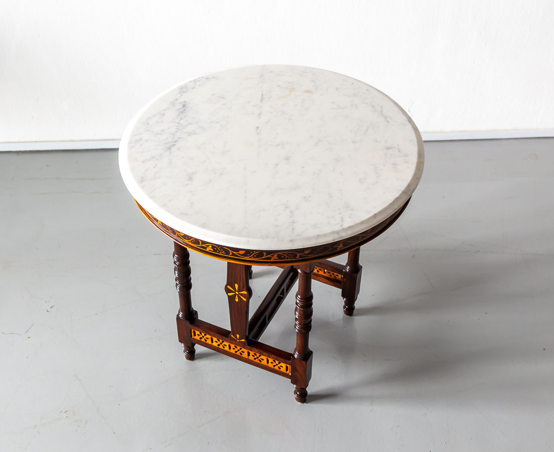 Portuguese Colonial Rosewood Marbe Top Table l The Past Perfect Collection l Singapore