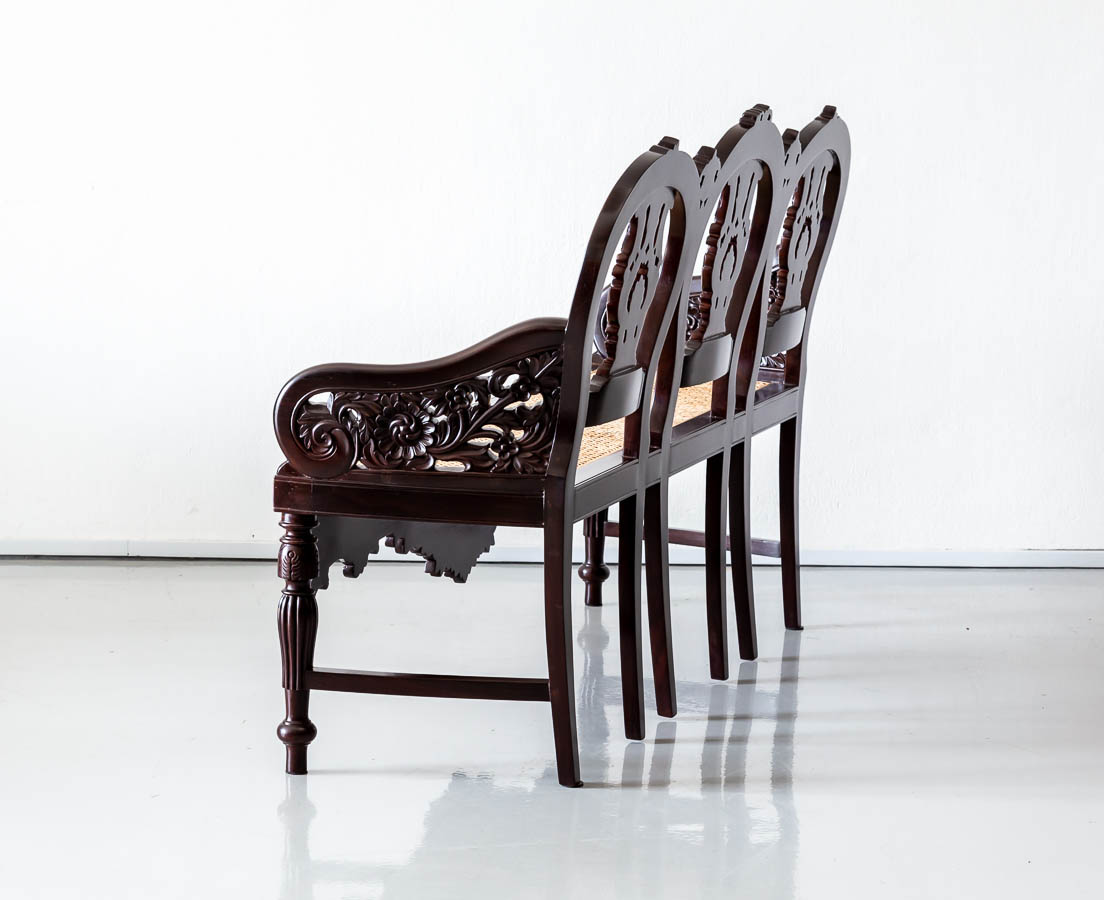 Antique Benches & Sofas - Portuguese Colonial Rosewood Bench - The Past Perfect Collection - Singapore